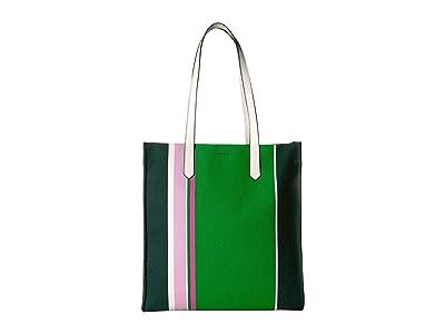 Kate Spade New York Kitt Stripe Large North/South Tote (Conifer Multi) Handbags