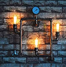 LJL Decorative Wall Light European Vintage Buddhist Water Pipe Wall lamp bar Wrought Iron Craft Home Industrial Wind Chand...