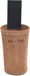 Style n Craft 88022 - Spray Paint Can Holder in Dark Tan Suede Leather