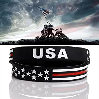 Power of Faith USA Thin Red Line American Flag Bracelet Silicone Rubber Wristbands Americanism Partriotic Spirit Sports Holiday Gifts