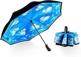Inverted Umbrella Compact Travel Umbrella Double Layer Cover Windproof Umbrella Auto Open/Close Automatic Folding Reverse Umbrella for Women Men