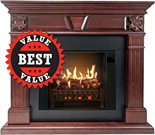 MagikFlame Most Realistic Electric Fireplaces - Neo Cherry Wood Electric Fireplace with Wood Mantel Package - Large 55