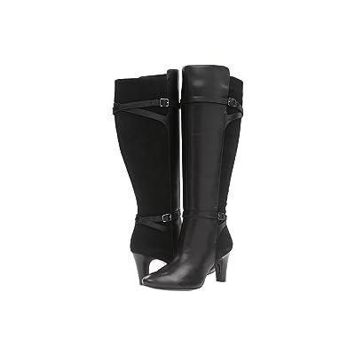 LAUREN Ralph Lauren Sabeen Wide Calf (Black Burn Calf/Sport Suede) High Heels