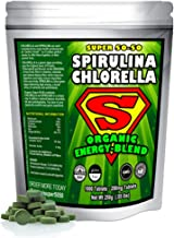 Spirulina Chlorella Cracked Cell Wall Super 50-50 Super-Pack 1,000 Tablets). Raw Organic Gluten-Free Non-GMO Green Superfood. High Protein, Chlorophyll & nucleic acids. No preservatives, No Fillers