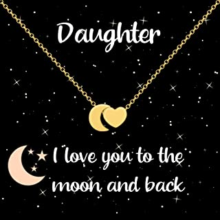 Daughter Necklace I Love You to The Moon and Back Heart & Moon Pendant Necklace, Stocking Stuffers Christmas Jewelry Gifts for Girls, Teens, Women