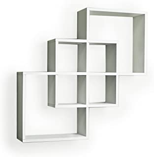Danya B. FF6013W Decorative Contemporary Floating Intersecting Square Cube Wall Shelves- White