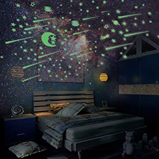 Glow in The Dark Stars and Moon, Ztent 223 Pcs Glowing Stars for Ceiling and Star Wall Decal, Perfect for Kids Bedding Roo...