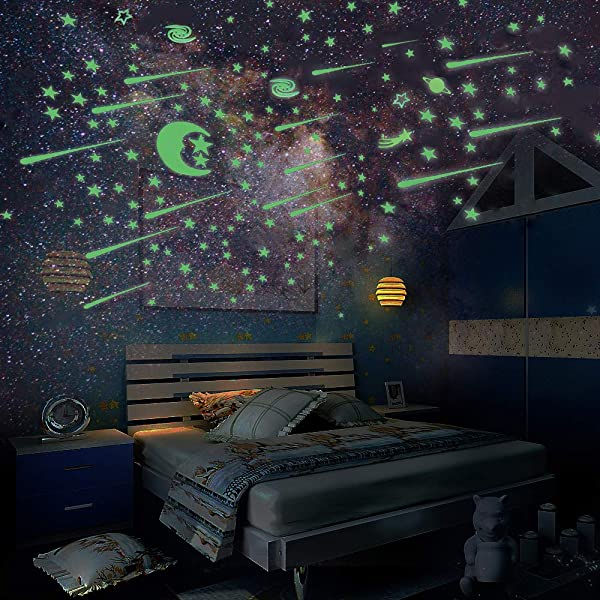 Glow In The Dark Stars And Moon Ztent 223 Pcs Glowing Stars For Ceiling And Star Wall Decal Perfect For Kids Bedding Room Living Room