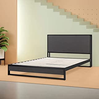 Zinus  Christina  Upholstered Platform Bed with Headboard Shelf / Box Spring Optional / Wood Slat Support, Twin
