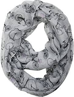 Wrapables Lightweight Vintage Bicycle Infinity Scarf Gray