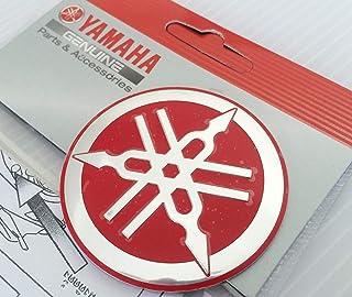 100% GENUINE 55mm Diámetro YAMAHA PUESTA A PUNTO HORQUILLA Pegatina Emblema Adhesivo Logotipo Rojo / PLATA Elevado Forma de huevo Aleación De Metal Construcción Autoadhesivo Moto / Jet Ski / ATV / Nieve
