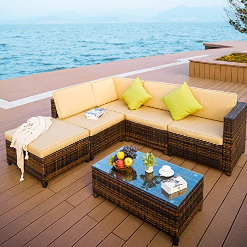 PAMAPIC 6pcs Wicker Furniture Set with Lounge Chair and Storage Function, PE Rattan Outdoor Sectional Sofa with Cushioned Seat and Coffee Table, Adjustable Back Support Porch Patio, 6 Piece Brown Mix