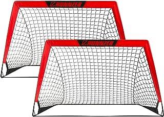 L RUNNZER Portable Soccer Goal, Pop Up Soccer Goal Net...