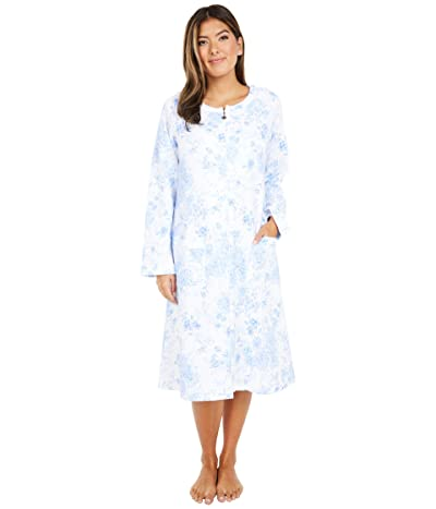 Eileen West Quilted Diamond Long Zip Robe (White Ground Blue Rose Floral) Women