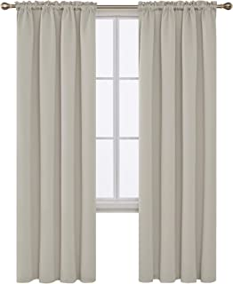 Deconovo Blackout Curtains Room Darkening Drapes and Window Curtains for Nursery 42W x 95L Inch Light Beige 2 Panels