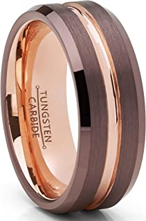 Men's Chocolate Brown and Rose Goldtone Tungsten Carbide Wedding Band Ring 8mm