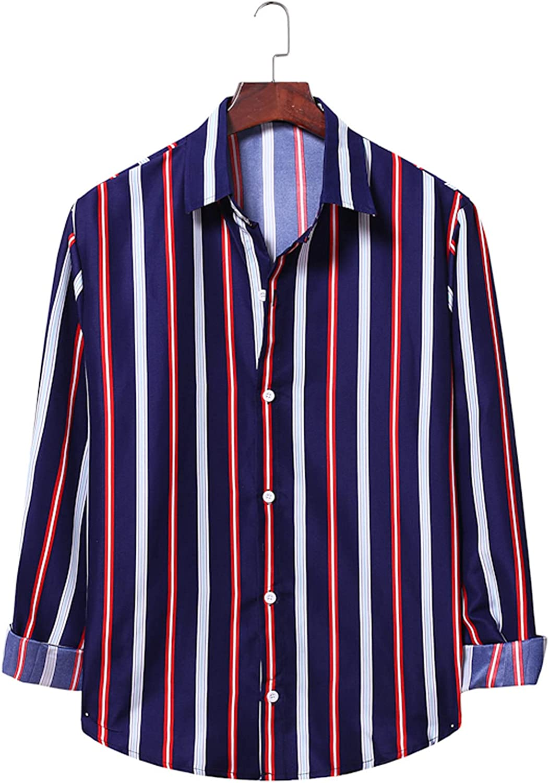 Huangse Casual Color Block Striped Shirt for Men Long Sleeve Button Up Lapel Shirt Regular fit Loose Tops Blouse