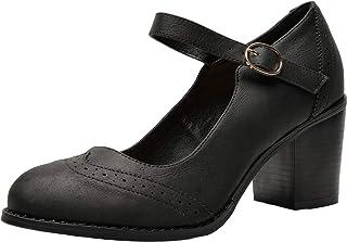 6474e96696f Aukusor Women s Wide Width Heel Pump - Ankle Buckle Strap Mary Jean Shoes.
