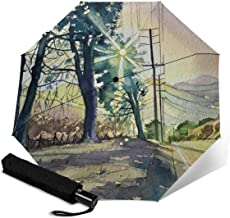 Windproof Travel Folding Umbrella-Automatic Switch Button September-Sunset-On-Mulholland