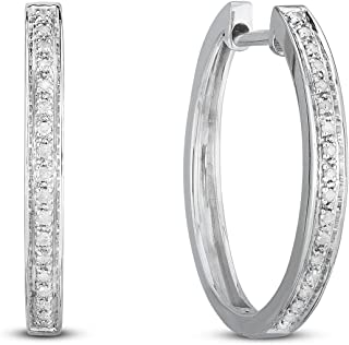 NATALIA DRAKE Classic Diamond Hoops in Sterling Silver or Gold
