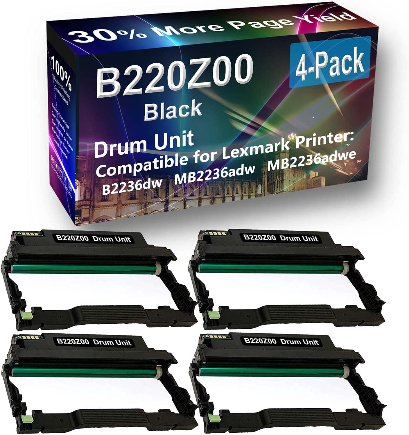 4-Pack Compatible Drum Unit (Black) Replacement for Lexmark E250X22G Drum Kit use for Lexmark E352 E352DN, E450, 450N, 450DN Printer