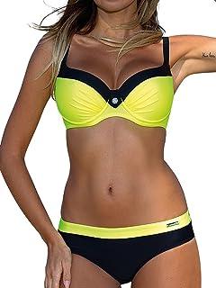 Mujer Bikini de Gradiente de Color Establece Retro Empuja hacia Arriba Dos Piezas Acolchadas Lunares/Rayas/Cristal Impresa Ropa de Playa Traje de baño