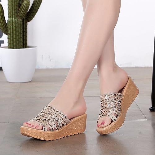 QPSSP Sandales à Talons, épaisse, Pantoufles, Chaussures Chaussures De Plage, Des Chaussures En Diamant.