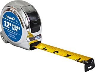 Empire Level 612 Chrome Case Power Tape Measure with Slide Lock, 12-Feet x 5/8-Inch