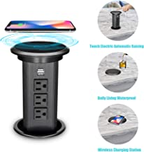 BTU Automatic Raising Pop Up Outlet Socket Hidden Recessed Retractable Power Strip with Wireless Charging Station,3 AC Outlet and 2 USB Ports for Kitchen Counter Island Conference Office, Black