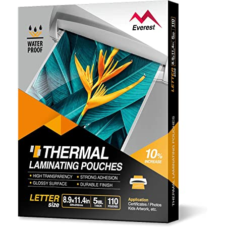 Everest Thermal Laminating Pouches, 8.9 x 11.4 - Inches, 5 Mil Thick, 110 - Pack, Letter Size Sheets, Clear(TH0500-01)
