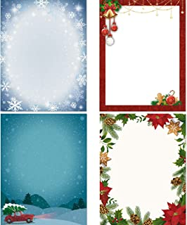 60 Pieces Christmas Stationery Paper Holiday Stationery Sheets Christmas Letterhead Paper for Writing Poems Lyrics Letters...