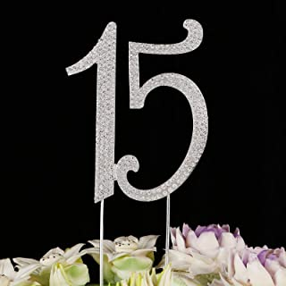 Timoo 15 Cake Topper Quinceanera Decorations Rhinestone Decoration Topper for 15th Birthday Anniversary Party