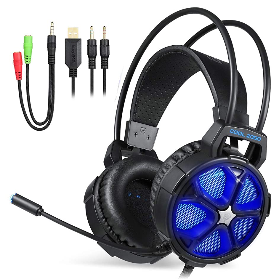 EasySMX Cool 2000 Stereo Gaming Headset for PS4, PC, Xbox One 7.1 Surround Sound Over Ear Headset with Noise Cancelling Mic, LED Light and Volume Control, Blue