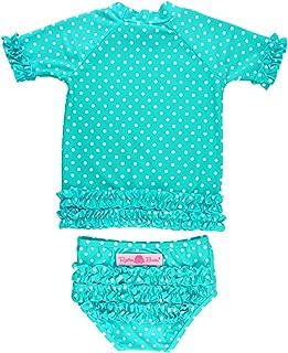 RuffleButts Little Girls Rash Guard Short Sleeve 2-Piece Swimsuit Set - Polka Dot Bikini with UPF 50+ Sun Protection