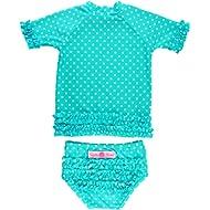 RuffleButts Little Girls Rash Guard 2-Piece Swimsuit Set - Polka Dot Bikini with UPF 50+ Sun...