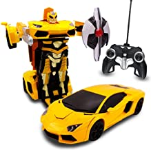 Transformania Toys Kids Bull RC Toy Car Transforming Robot Remote Control One Button Transformation Realistic Engine Sounds 360 Speed Drifting Weapon Included Toys For Boys 1:14 Scale (Yellow)