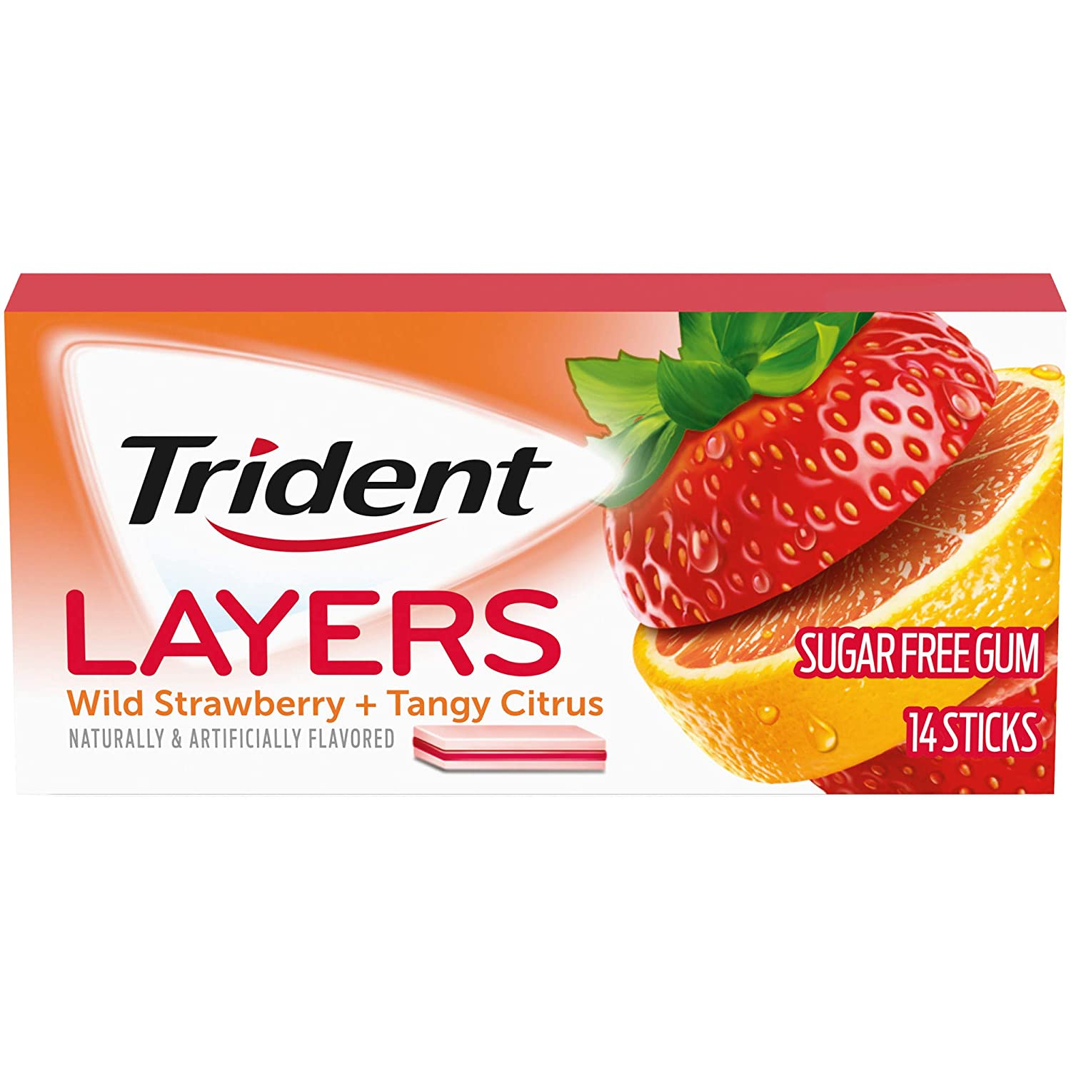 Trident Layers Wild Strawberry & Tangy Citrus Sugar Free Gum, 14 Piece Pack