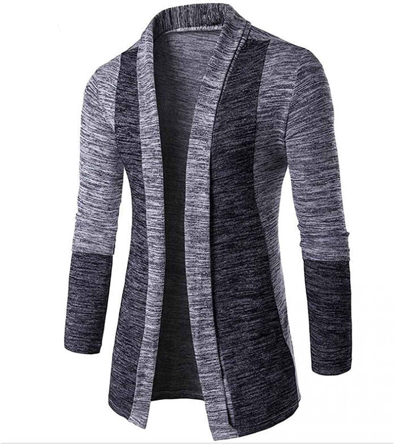 Huangse Men's Casual Shawl Neck Open Front Midi Length Knitwear Cardigan Fashion Color Block Knitted Jacket