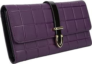 YALUXE Women's Plaid Leather Large Trifold Wallet Smartphone Clutch Purple