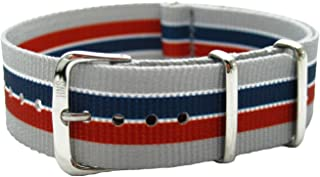 HNS 20mm Double Graphic Printed Stripe Ballistic Nylon Watch Strap Polished Buckle NT179