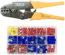 VLIKE Crimper Tool Kit A Self-adjustable Ratchet Wire Crimping Pliers AWG 22-10 with 270 PCS Terminal,Professional Insulated Wire Terminals Connectors