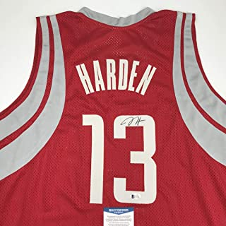 Autographed/Signed James Harden Houston Red Basketball Jersey Beckett BAS COA