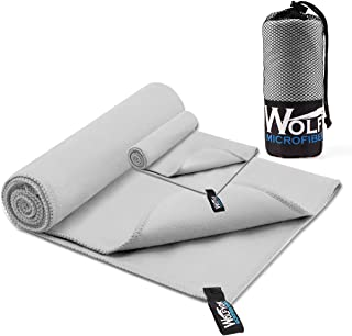 Wolfyok 2 Pack Microfiber Travel Sports Towel XL Ultra Absorbent and Quick Drying Swimming Towel (58