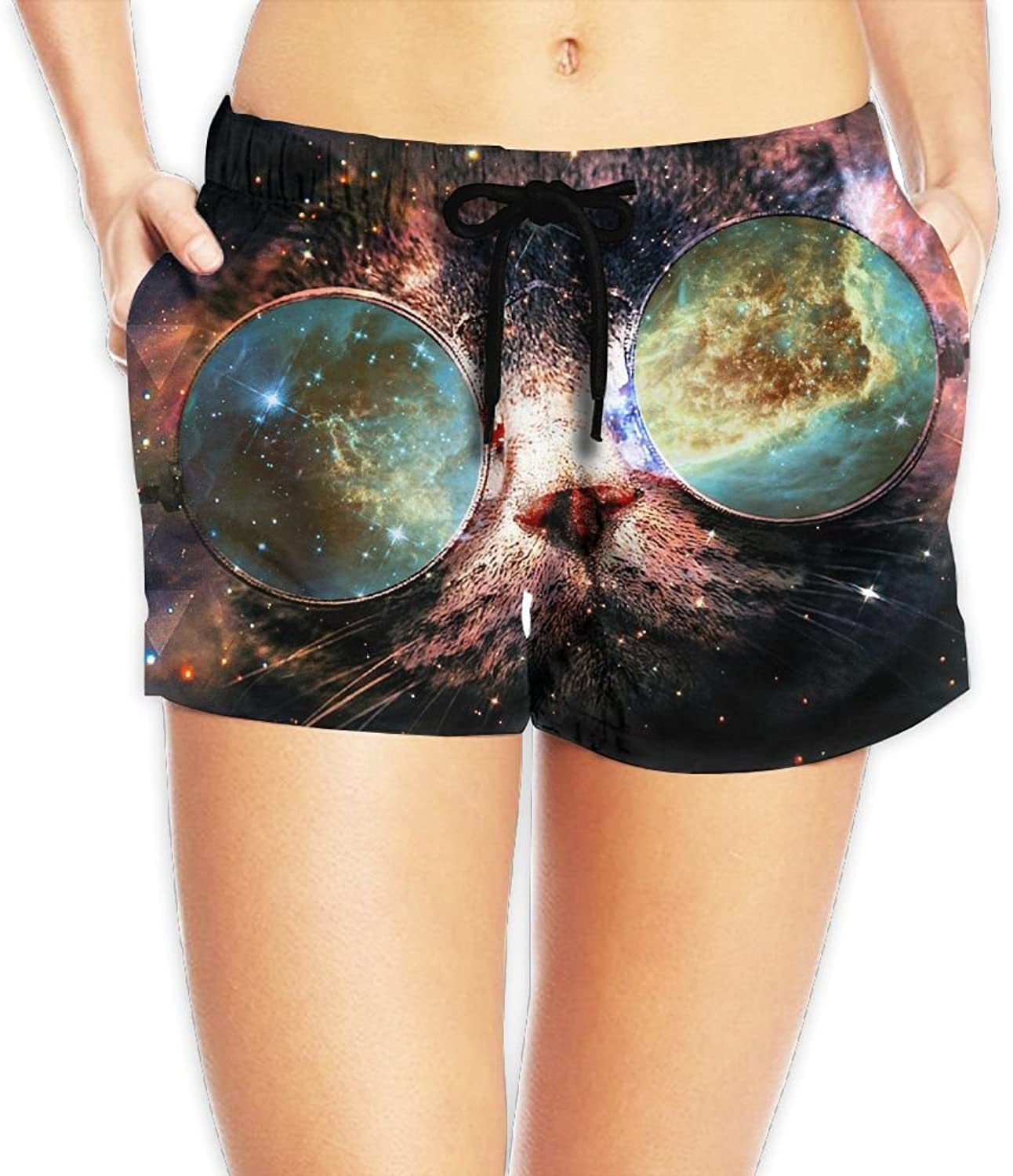 Galaxy Cat Board Shorts Fashion Pants With Pockets For Womans White