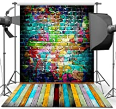 econious Photo Backdrop, 5x7ft Colorful Brick Wall Wood Floor Backdrop for Photography, Resistant Fleece-Like Cloth Fabric, with Rod Pocket (Backdrop Only)