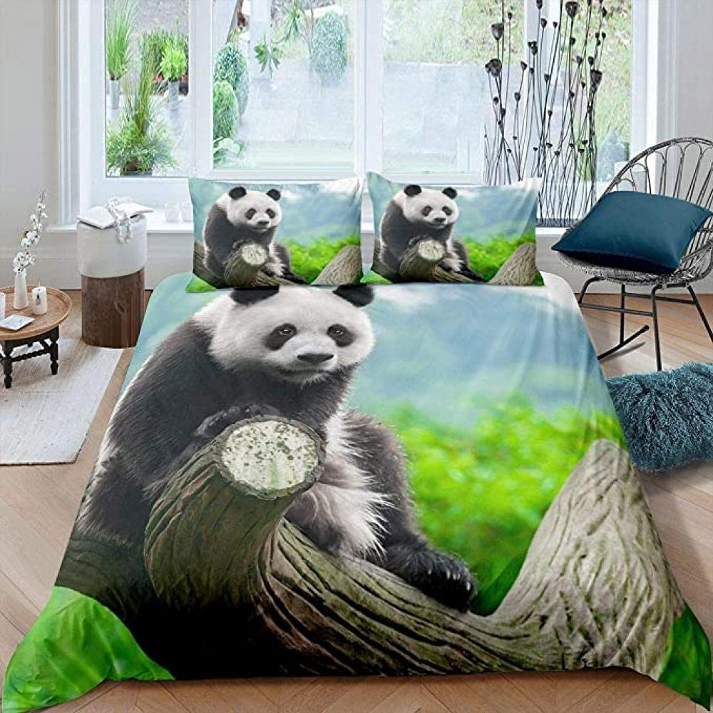 HSBZLH 3Pcs Panda Comforter Cover Cute Challenge the Max 81% OFF lowest price of Japan Branch Tree Leaves Duvet