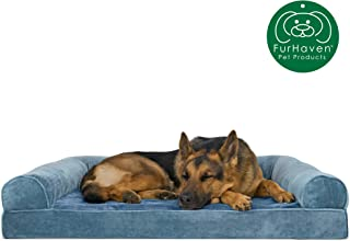 Furhaven Pet Dog Bed   Orthopedic Faux Fur & Velvet Traditional Sofa-Style Living Room Couch Pet Bed w/ Removable Cover for Dogs & Cats, Harbor Blue, Jumbo