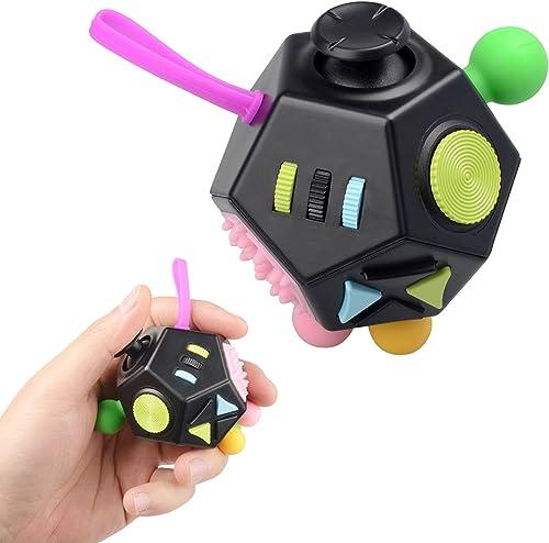 JIM'S STORE Stress Relief Toys 12 Côtés Fidget Anxiété Stress Reliever Cube Décompression Jouet Attention Dinquiétude...