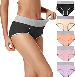 POKARLA Women's High Waist Cotton Underwear Soft Hipster Briefs Full Size