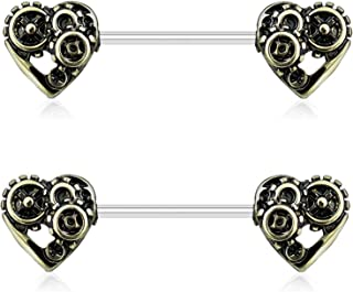 Pair of Steampunk Hearts Nipple Piercing Rings Steel Barbells - 14G 9/16